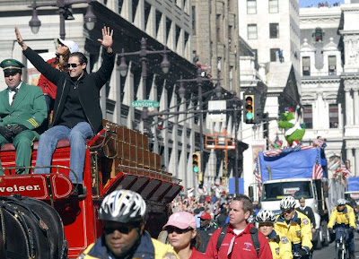 Pat Burrell and Phanatic floats