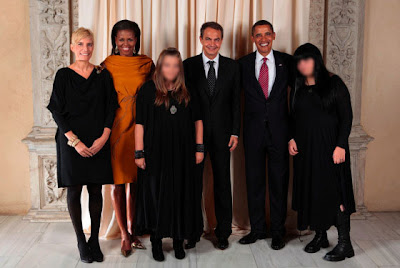 Spain's First Family with the Obamas - Spanish Prime Minister's daughters - Spanish Prime Minister family photo