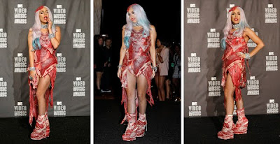 Lady Gaga VMA 2010 outfit | Lady Gaga meat dress