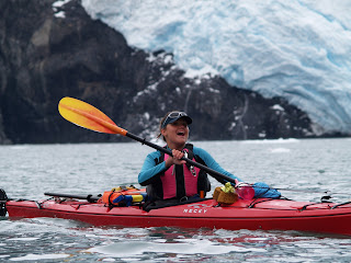 Jillyin Flecker kayaking at Holgate Glacier, Seward, AK