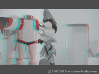 3-D anaglyph still of The Incredible Invasion...