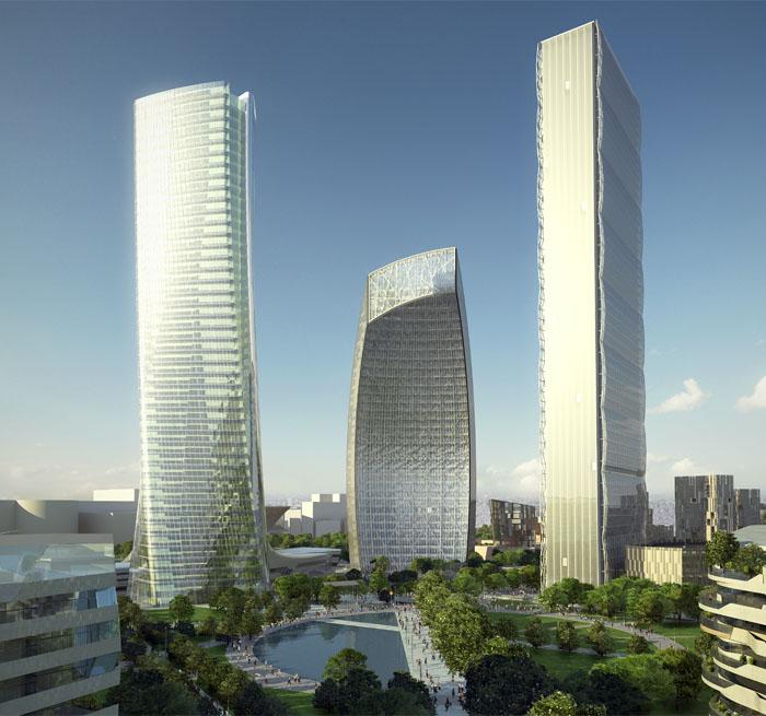 milano, citylife, 3 grattacieli