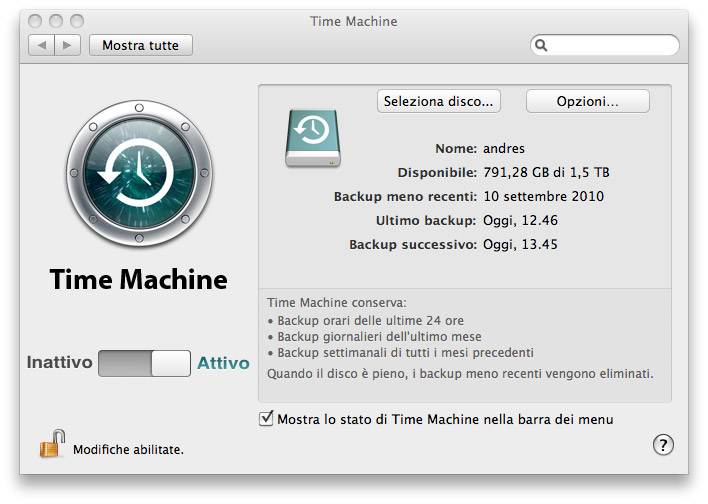 guida time machine, tutorial