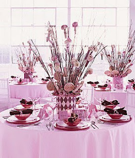 pink lollipop centre piece