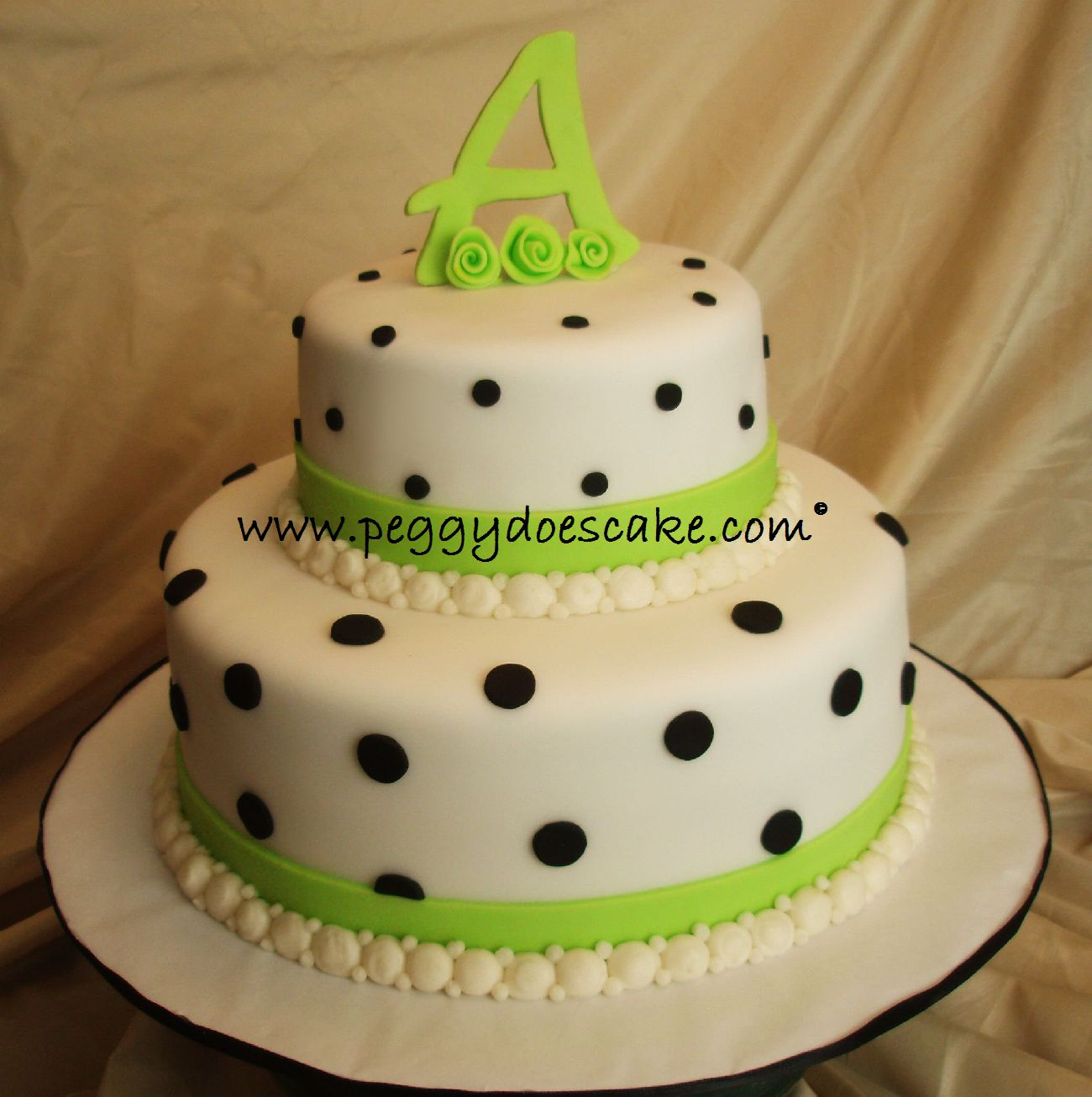 Black And White Polka Dot Sheet Cake