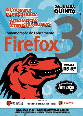 Comemoracao do lancamento do Firefox3, quinta, 26 de Junho, Armazem bar, Sao Carlos, banda Aeromocas e Tenistas Russas, DJs Yasmina e Felipe Fiodiback