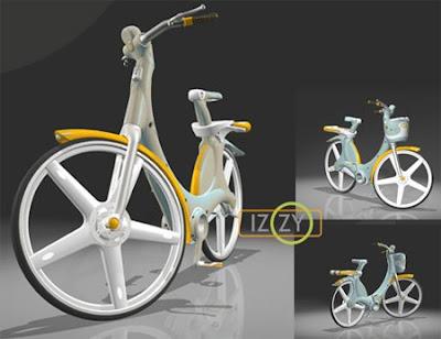 Bicicletta creata con materiali riciclati e riciclabili