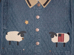 Primitive sheep quilted denim jacket