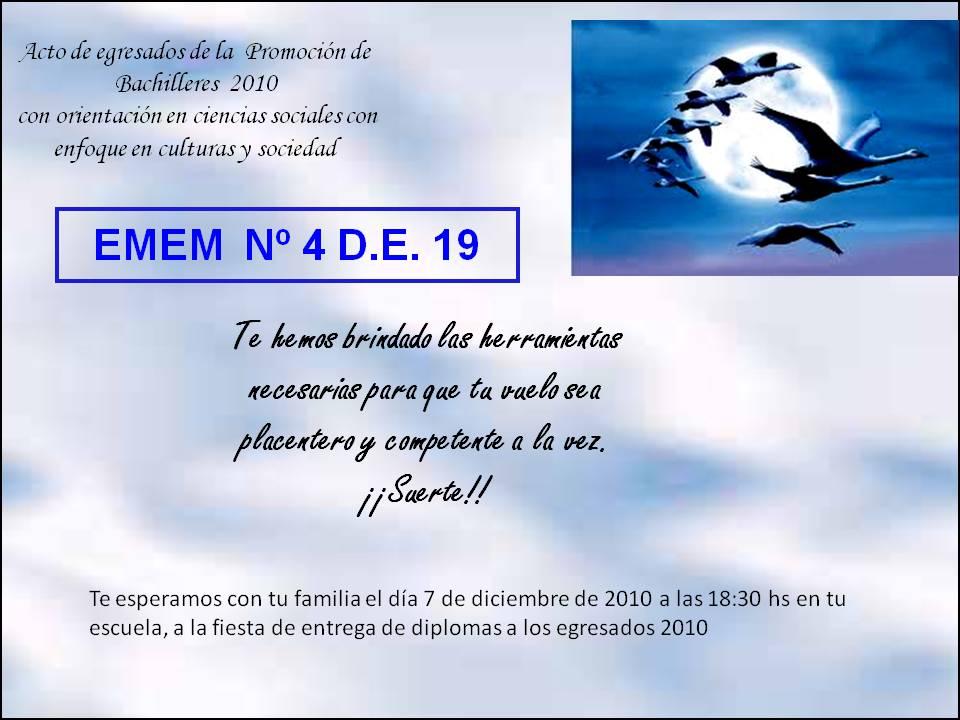 Homero Manzi: tarjeta de invitación para acto de colación 2010
