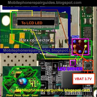 nokia 6700s LCD display back light jumper ways tracks' border=