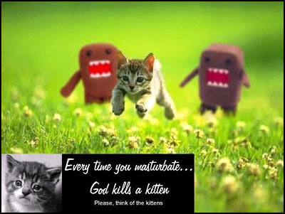 Every time you masturbate… God kills a kitten. Please think of the kittens [clique para ampliar]