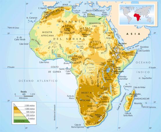 Red Geogrfica Mapa fsico de frica 1 G ESO