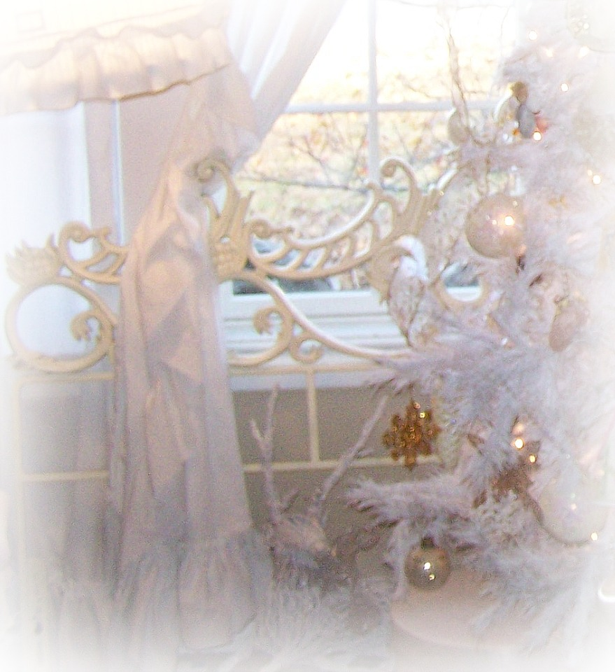 am using this pretty scrolly iron bed as a backdrop for my Christmas ...