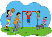 . ilustracion de ninos jugando en una escuela en forma de apple