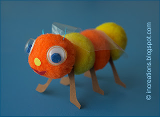 Toy bee made of pompoms