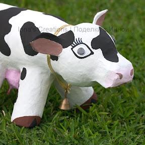 Paper-mache cow's head
