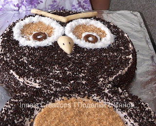 Owl cake. Detail