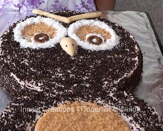 Owl cake. Detail