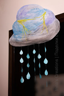 Paper cloud with raindrops