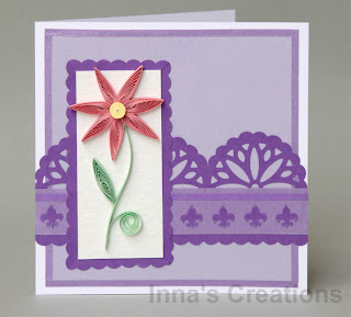 Purple card with quilled flower
