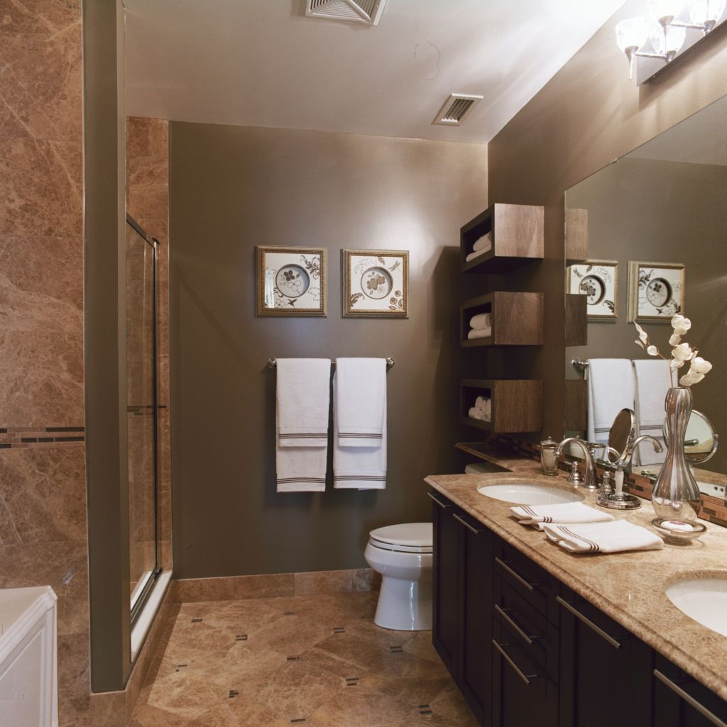 Carmen s corner it 39 s finally time to renovate your old for Light brown bathroom ideas
