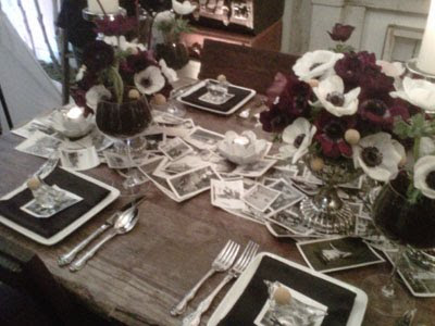 It included a table runner constructed with black and white