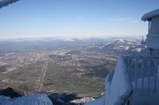 Salzburg viewed from top of Untersberg in winter