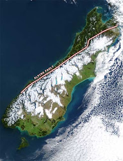 NZ main alpine fault line from space