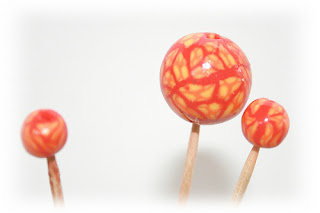 Polymer Clay beads - Bulles eye cane