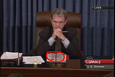 Sen. Tom Coburn, R-OK - caught on C-SPAN filling out a crossword puzzle during the hearings for confirmation of Justice Alito to the U.S. Supreme Court'