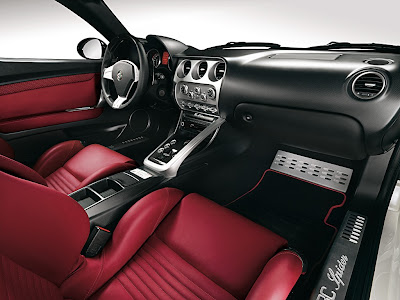 Alfa Romeo 8C Spider interior. The two cars are highly sophisticated on the