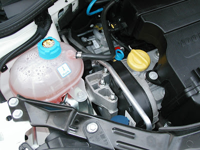 detailed pics of the fiat 500 undergoing testing by chrysler all the maintenance points under the hood of the fiat 500 are easy to get to the blue item in the above picture is the engine oil dipstick next to the