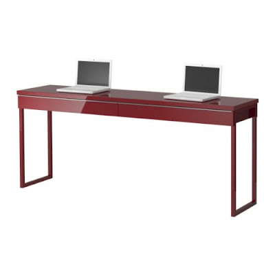 the love of beauty ikea long narrow high gloss desk great for small spaces. Black Bedroom Furniture Sets. Home Design Ideas