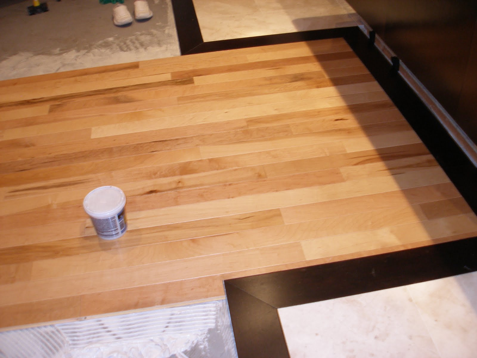 Maple Wood Floors with Dark Trim