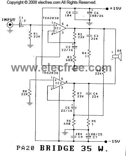 skema elektronika  circuit 35w amplifier bcl by tda2030