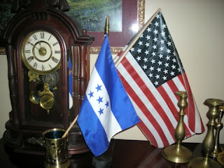Honduran and US flags