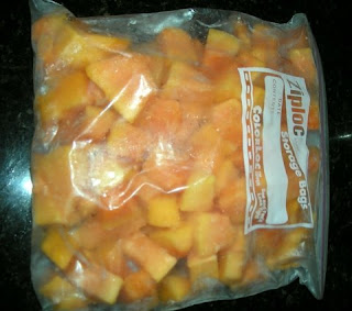 frozen papaya chunks