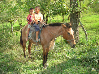 Boys on horse, Yaruca, Honduras