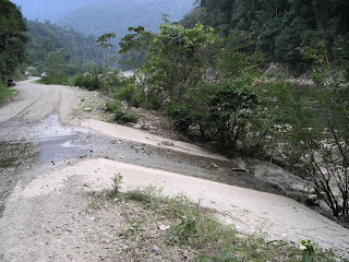 stream over road in Honduras
