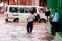 La Ceiba street after rain