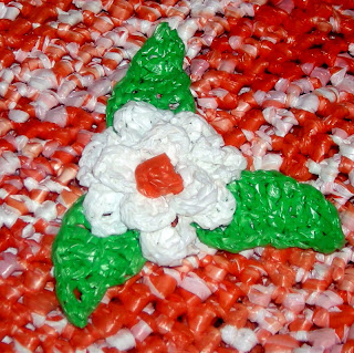 Crocheted plastic flower