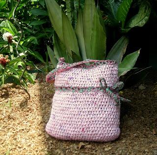 Crocheted pink plastic bag, La Ceiba, Honduras