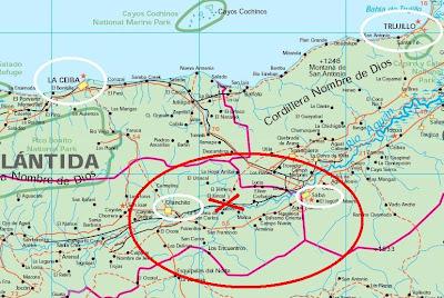 detailed map, Honduras earthquake, June 2, 2009