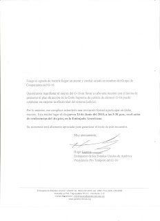 US Ambassador Hugo Llorens memo to Honduras Supreme Court justices