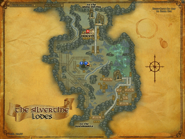 LOTRO Map of Silvertine Lodes