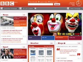 BBC beta homepage screenshot showing scary clowns feature
