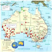 Map of Australia. Added: Lake Argyle (WA),. Katherine (NT), (map)