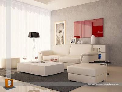 Modern Living Room Interior Red Color, Interior Design Ideas, Best Living Room Interior