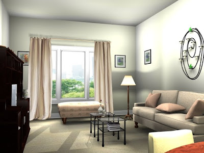parkway 3D architectural render living room