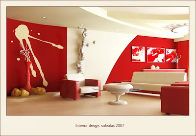 red-living-room-design